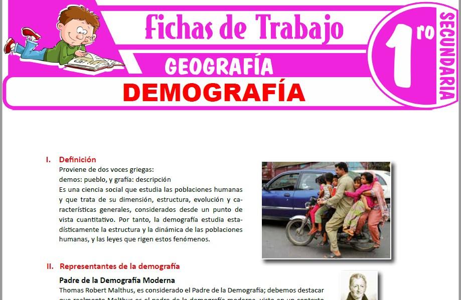 Modelos de la Ficha de Demografía para Primero de Secundaria