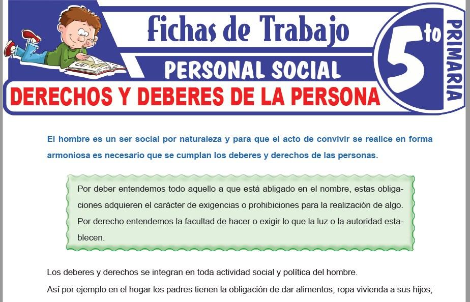Modelos de la Ficha de Derechos y deberes de la persona para Quinto de Primaria