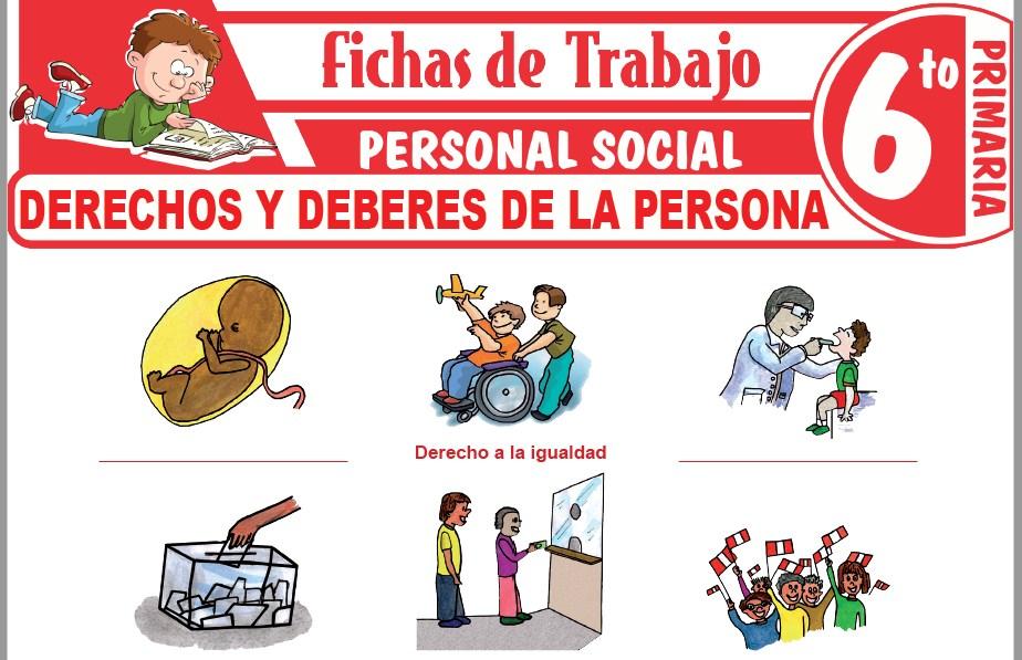 Modelos de la Ficha de Derechos y deberes de las personas para Sexto de Primaria