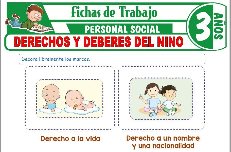 Modelos de la Ficha de Derechos y deberes del niño para Niños de Tres Años