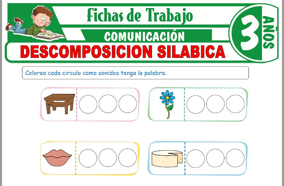 Modelos de la Ficha de Descomposición silábica para Niños de Tres Años