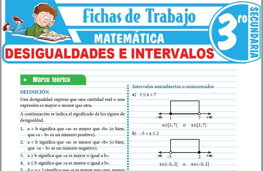 Modelos de la Ficha de Desigualdades e intervalos para Tercero de Secundaria