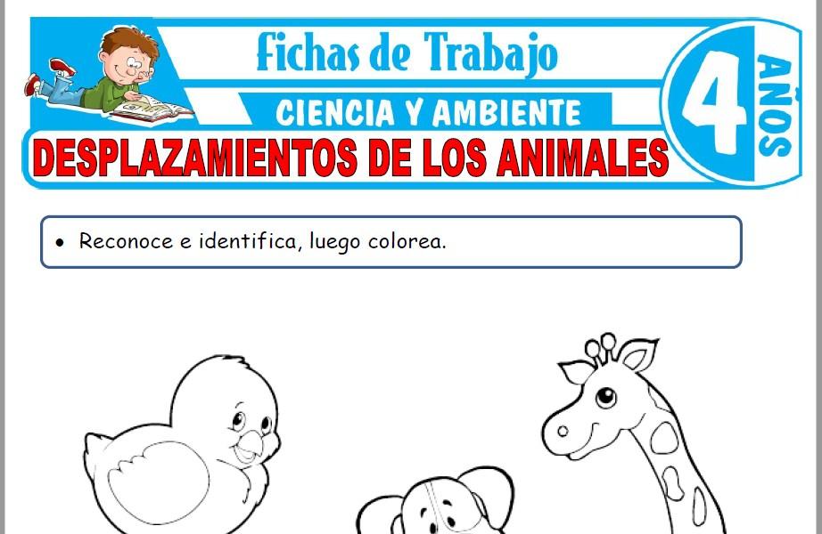 Modelos de la Ficha de Desplazamientos de los animales para Niños de Cuatro Años
