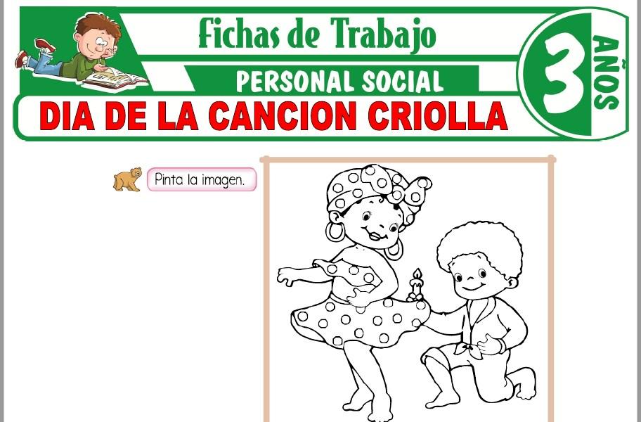 Modelos de la Ficha de Día de la canción criolla para Niños de Tres Años