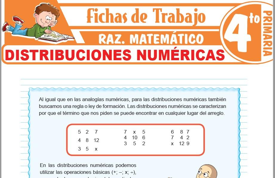 Modelos de la Ficha de Distribuciones numéricas para Cuarto de Primaria