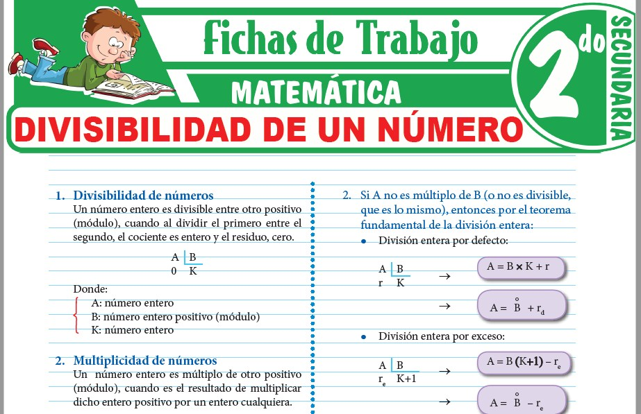 Modelos de la Ficha de Divisibilidad de un número para Segundo de Secundaria