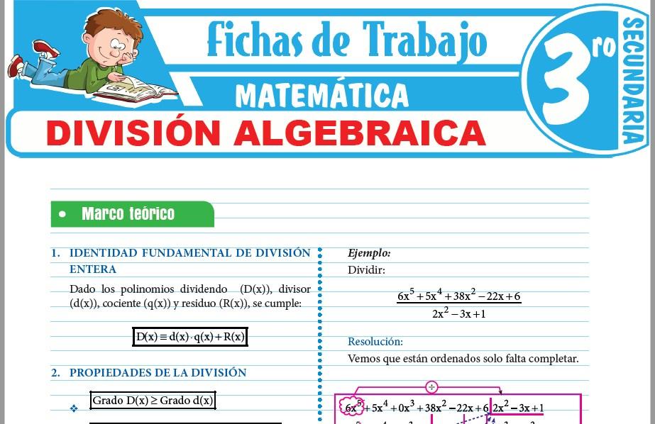 Modelos de la Ficha de División algebraica para Tercero de Secundaria