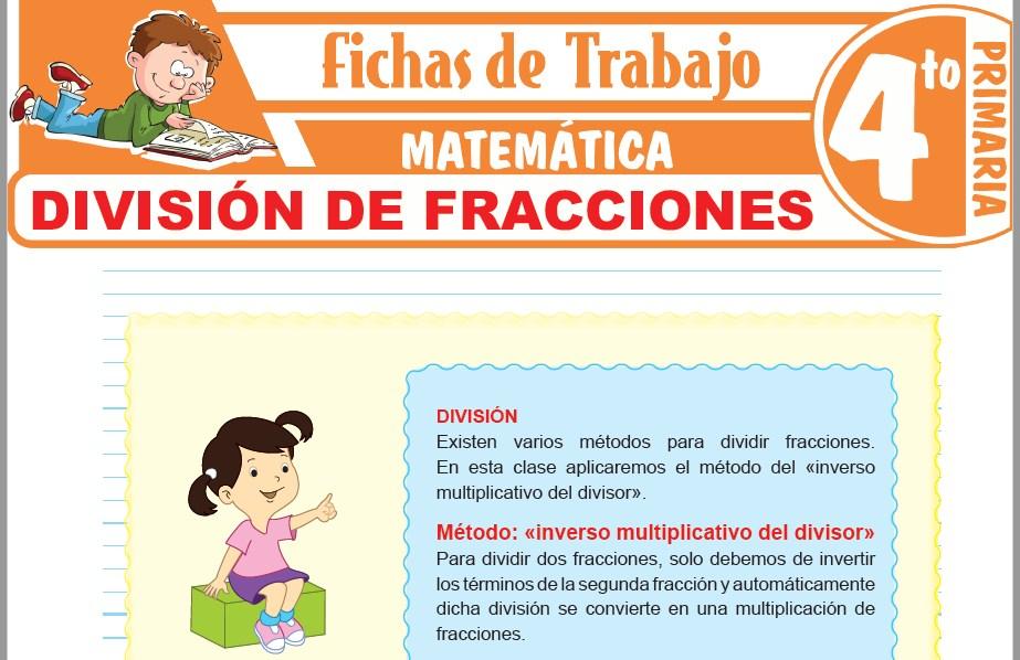 Modelos de la Ficha de División de fracciones para Cuarto de Primaria