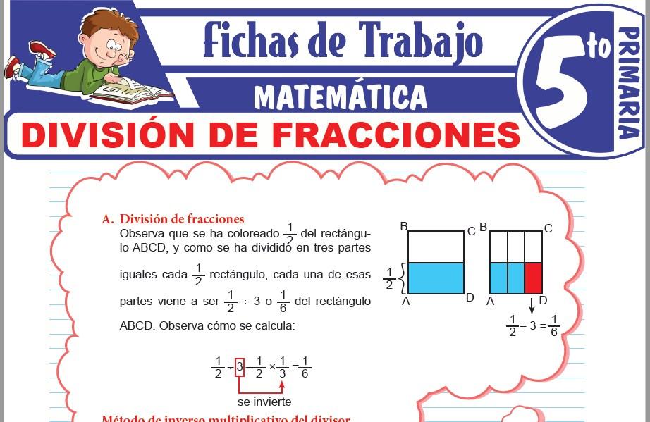 Modelos de la Ficha de División de fracciones para Quinto de Primaria