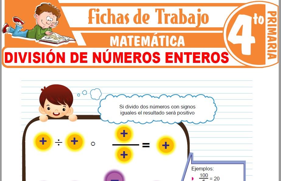 Modelos de la Ficha de División de números enteros para Cuarto de Primaria