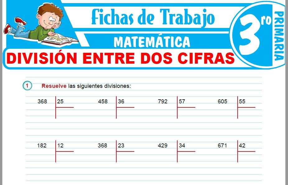 Modelos de la Ficha de División entre dos cifras para Tercero de Primaria
