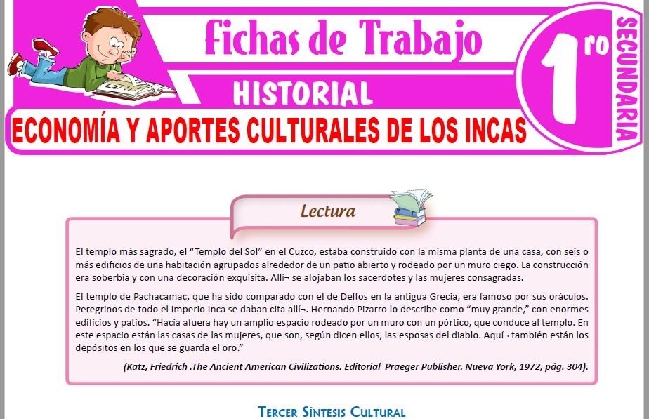 Modelos de la Ficha de Economía y aportes culturales de los Incas para Primero de Secundaria
