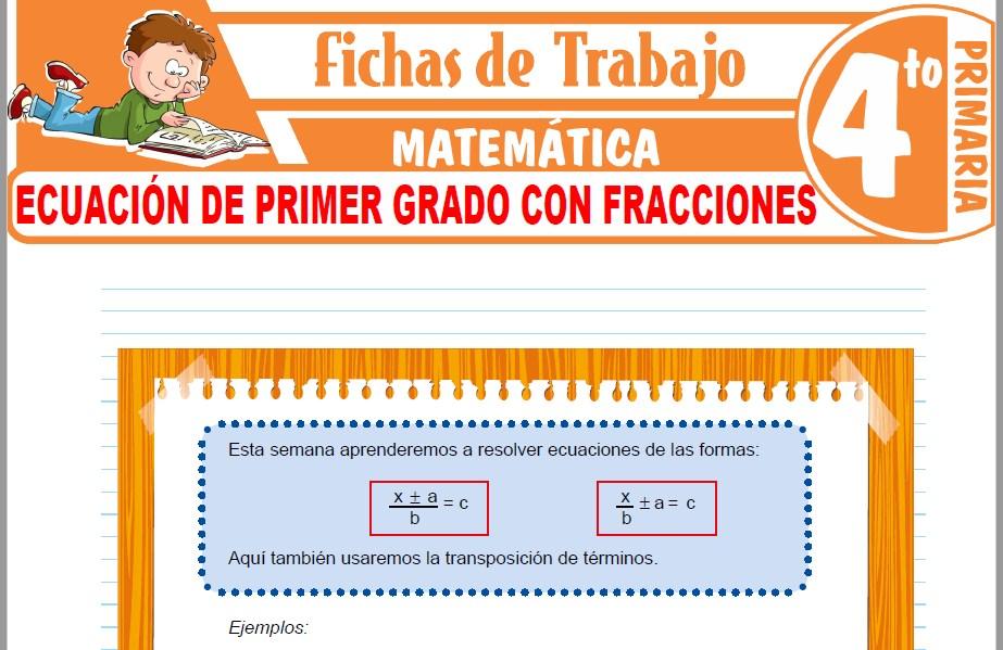 Modelos de la Ficha de Ecuación de primer grado con fracciones para Cuarto de Primaria