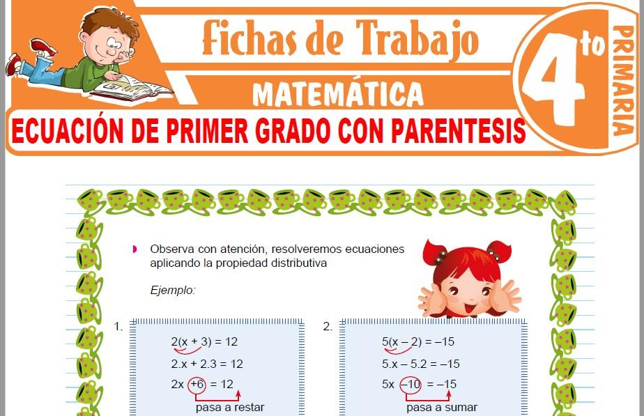 Modelos de la Ficha de Ecuación de primer grado con parentesis para Cuarto de Primaria