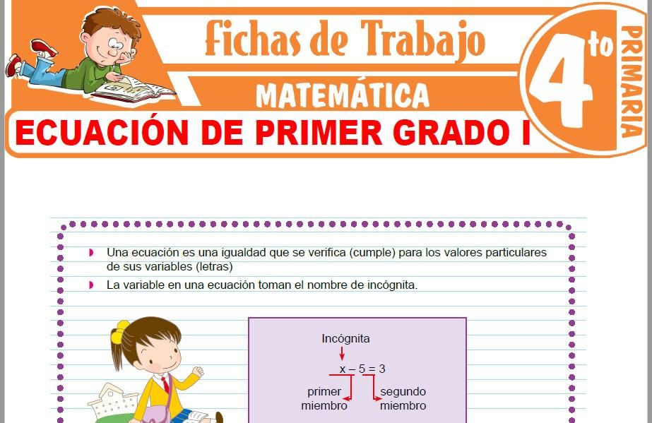 Modelos de la Ficha de Ecuación de primer grado para Cuarto de Primaria