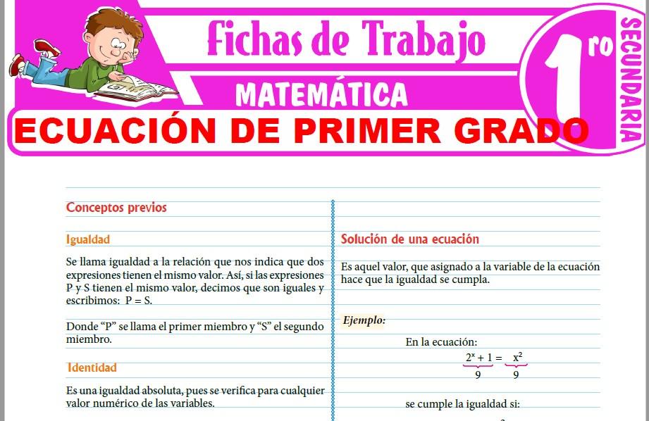 Ecuación de primer grado para Primero de Secundaria