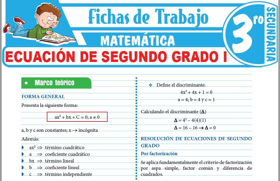 Modelos de la Ficha de Ecuación de segundo grado I para Tercero de Secundaria