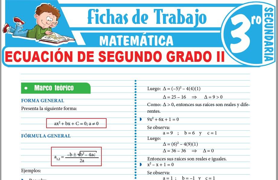 Modelos de la Ficha de Ecuación de segundo grado II para Tercero de Secundaria