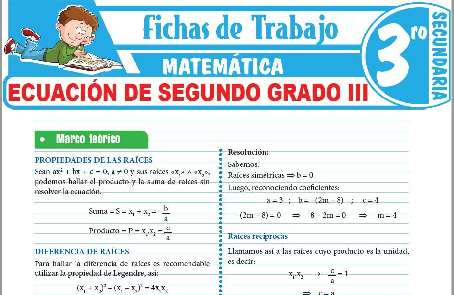 Modelos de la Ficha de Ecuación de segundo grado III para Tercero de Secundaria