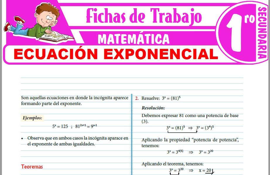 Modelos de la Ficha de Ecuación exponencial para Primero de Secundaria