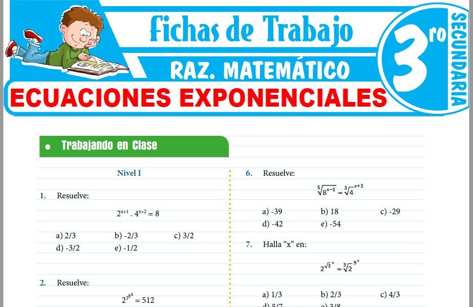 Modelos de la Ficha de Ecuaciones Exponenciales para Tercero de Secundaria