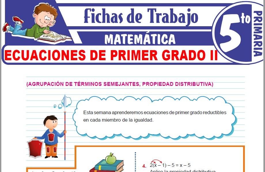 Modelos de la Ficha de Ecuaciones de Primer Grado II para Quinto de Primaria