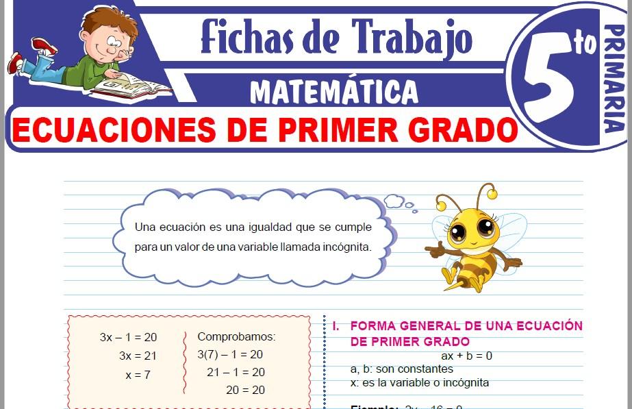 Modelos de la Ficha de Ecuaciones de Primer Grado para Quinto de Primaria