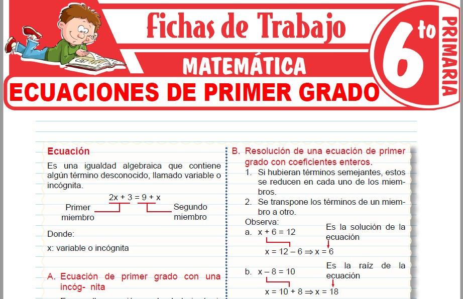 Modelos de la Ficha de Ecuaciones de primer grado con una incognita para Sexto de Primaria
