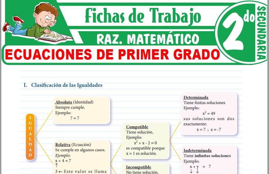 Modelos de la Ficha de Ecuaciones de primer grado para Segundo de Secundaria