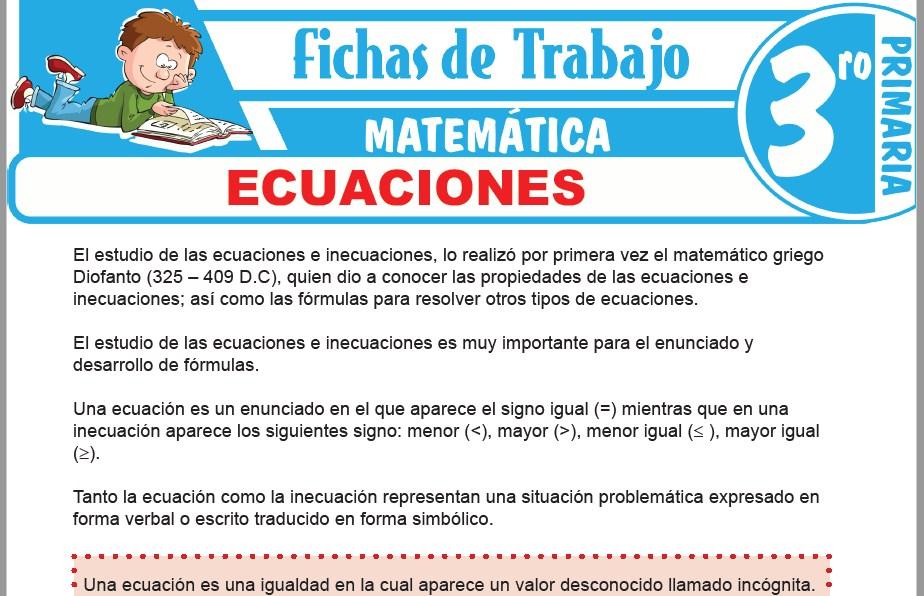 Modelos de la Ficha de Ecuaciones para Tercero de Primaria