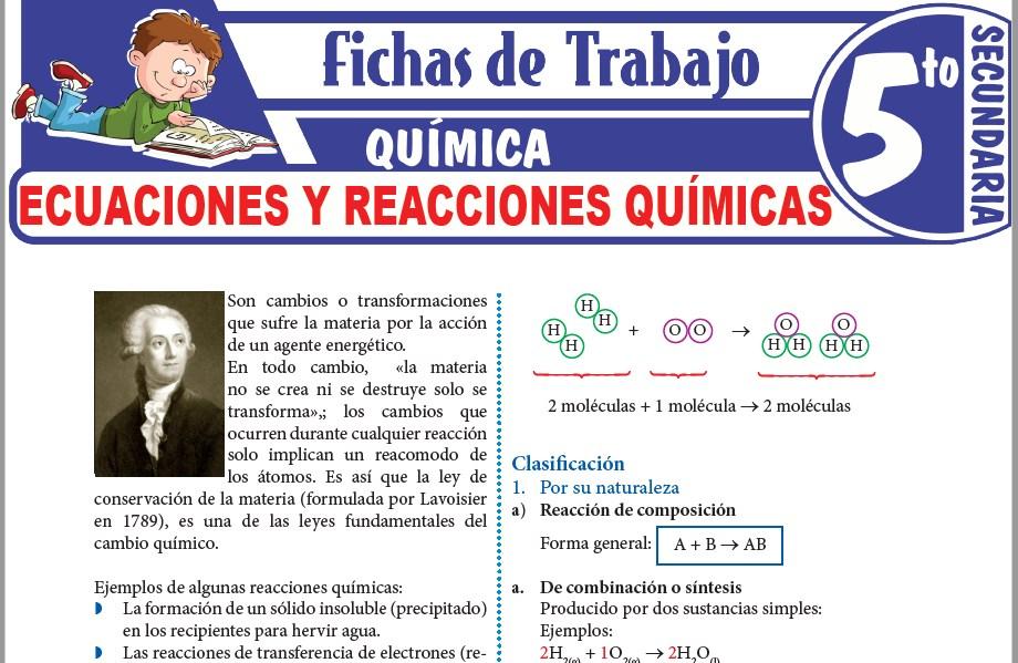 Modelos de la Ficha de Ecuaciones y reacciones químicas para Quinto de Secundaria