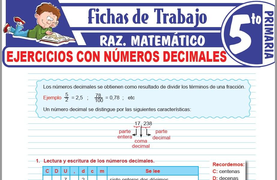 Modelos de la Ficha de Ejercicios con números decimales para Quinto de Primaria
