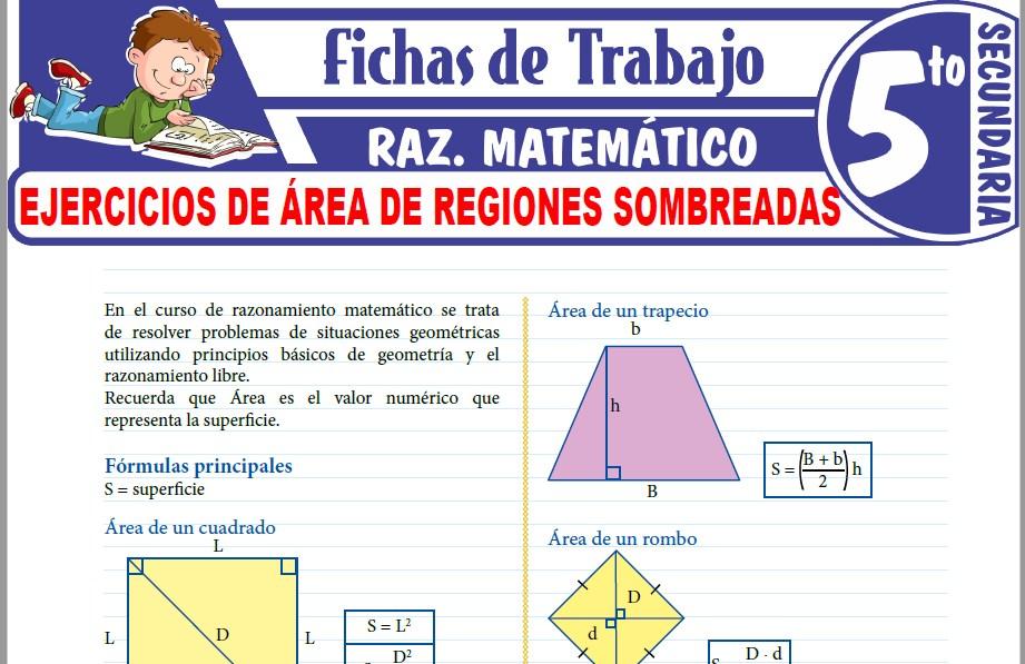 Modelos de la Ficha de Ejercicios de Área de regiones sombreadas para Quinto de Secundaria