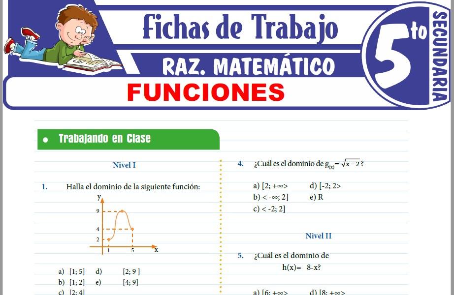 Modelos de la Ficha de Ejercicios de Funciones para Quinto de Secundaria