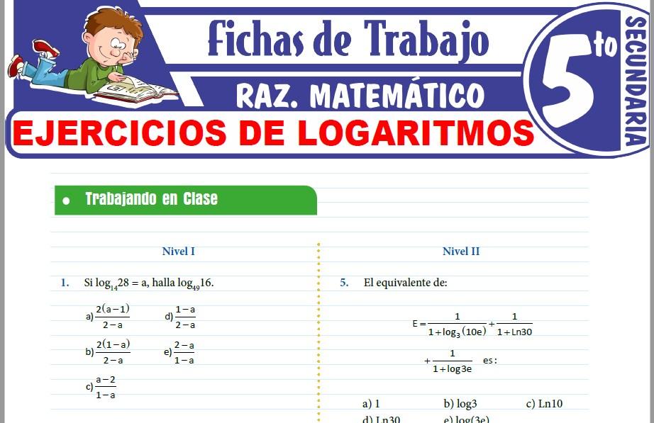 Modelos de la Ficha de Ejercicios de Logaritmos para Quinto de Secundaria