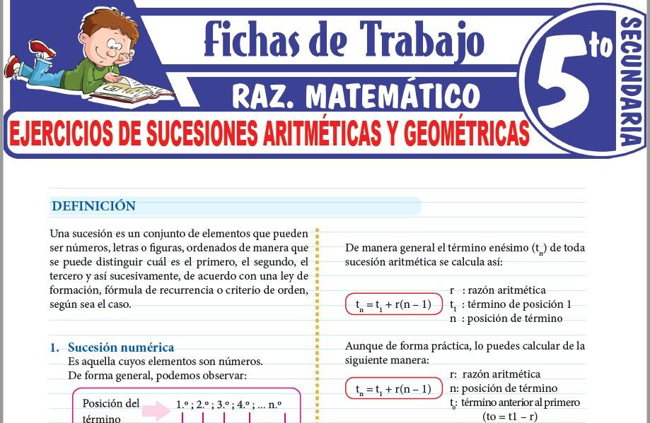 Ejercicios de Sucesiones aritméticas y geométricas para Quinto Grado de Secundaria