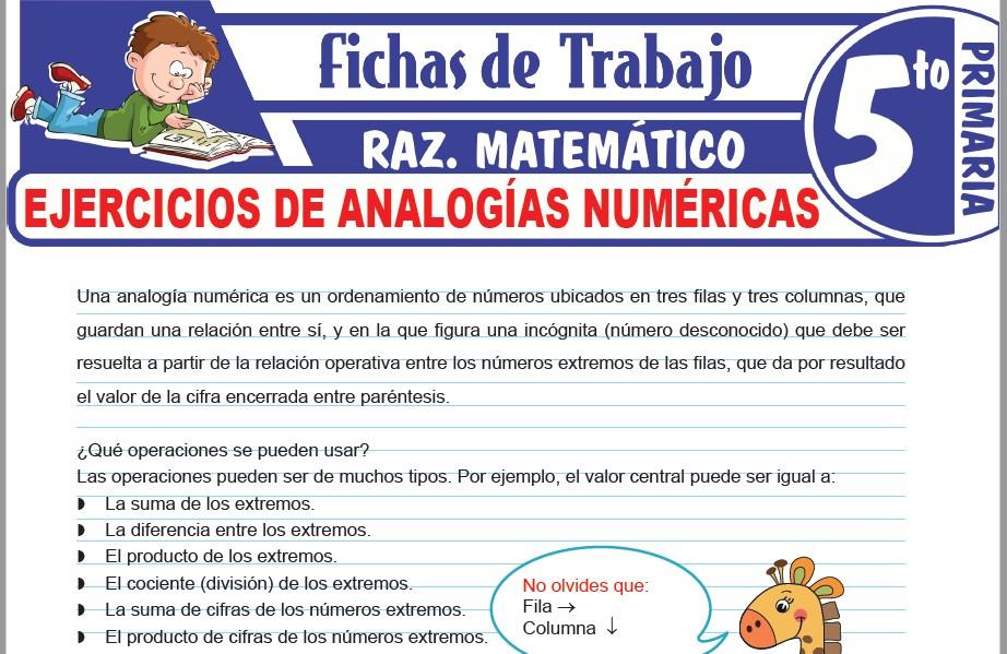 Modelos de la Ficha de Ejercicios de analogías numéricas para Quinto de Primaria