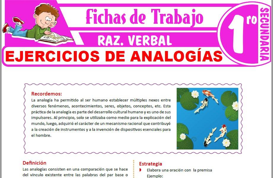 Modelos de la Ficha de Ejercicios de analogías para Primero de Secundaria