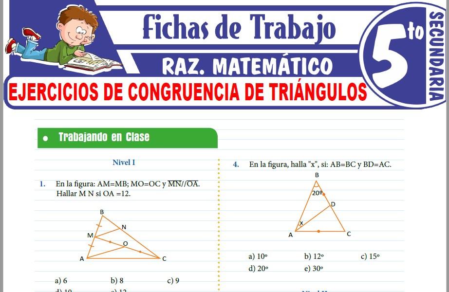 Modelos de la Ficha de Ejercicios de congruencia de triángulos para Quinto de Secundaria