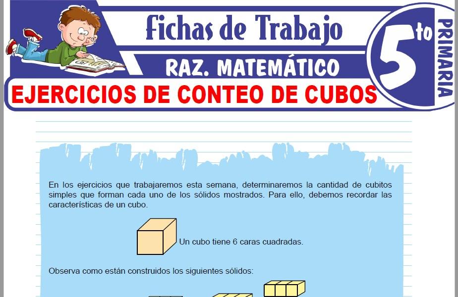Modelos de la Ficha de Ejercicios de conteo de cubos para Quinto de Primaria