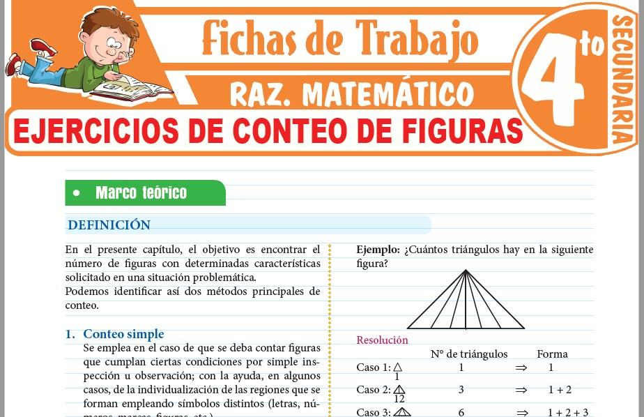 Modelos de la Ficha de Ejercicios de conteo de figuras para Cuarto de Secundaria