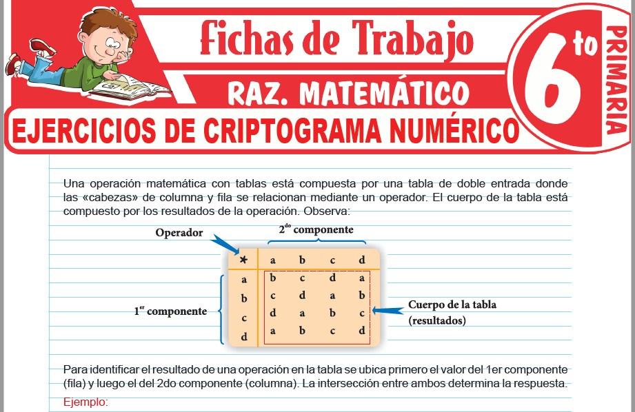 Modelos de la Ficha de Ejercicios de criptograma numérico para Sexto de Primaria