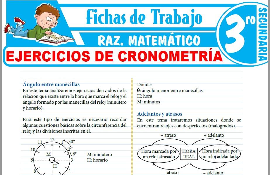 Modelos de la Ficha de Ejercicios de cronometría para Tercero de Secundaria