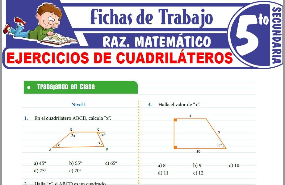 Modelos de la Ficha de Ejercicios de cuadriláteros para Quinto de Secundaria