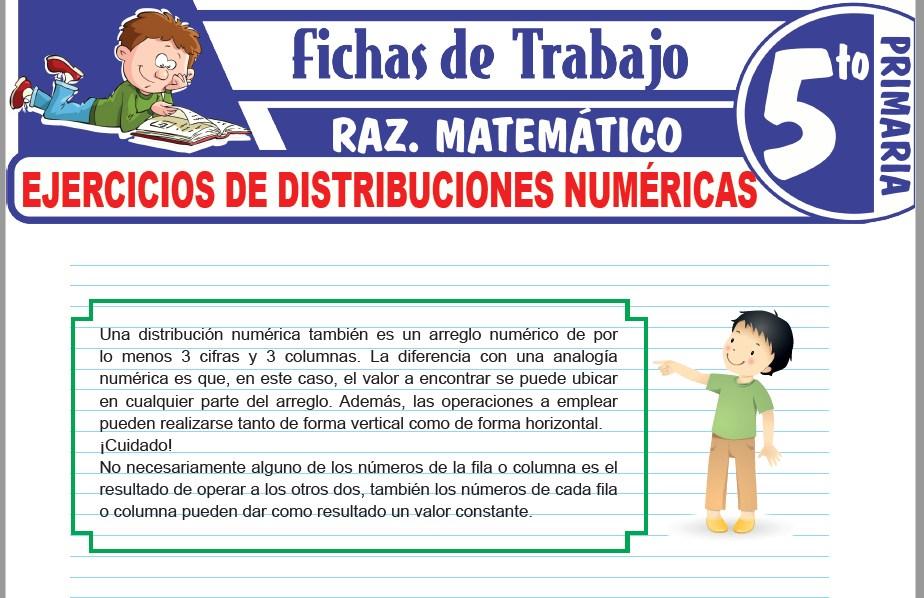 Modelos de la Ficha de Ejercicios de distribuciones numéricas para Quinto de Primaria