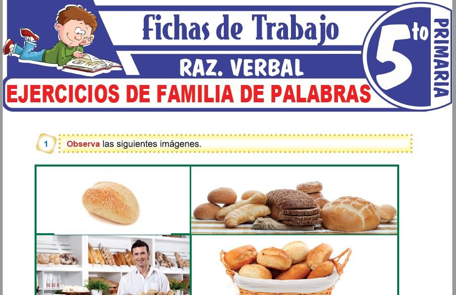 Modelos de la Ficha de Ejercicios de familia de palabras para Quinto de Primaria
