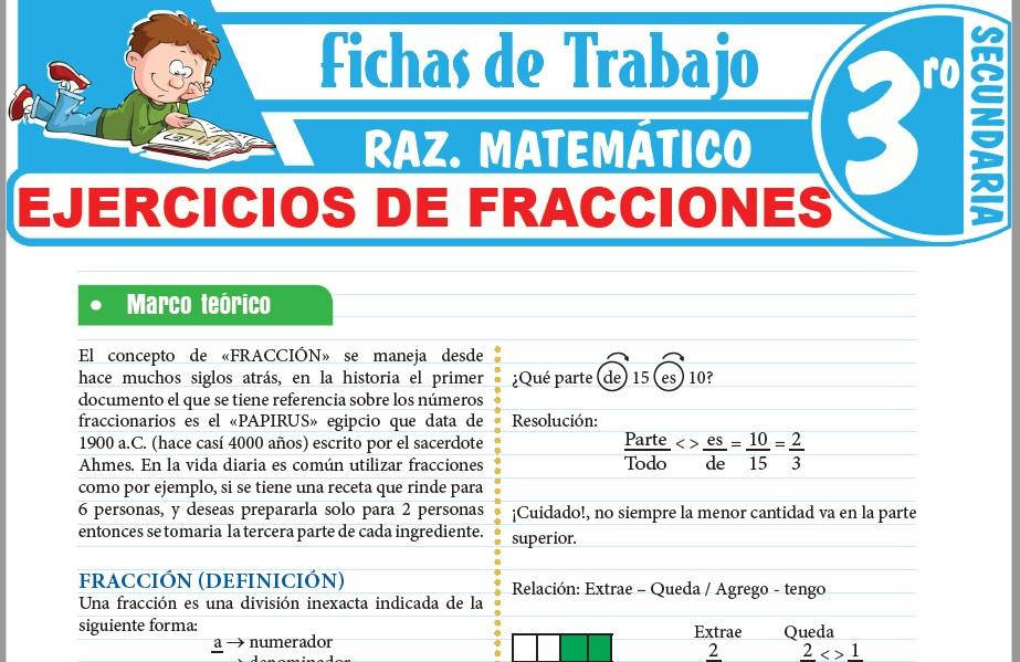 Modelos de la Ficha de Ejercicios de fracciones para Tercero de Secundaria