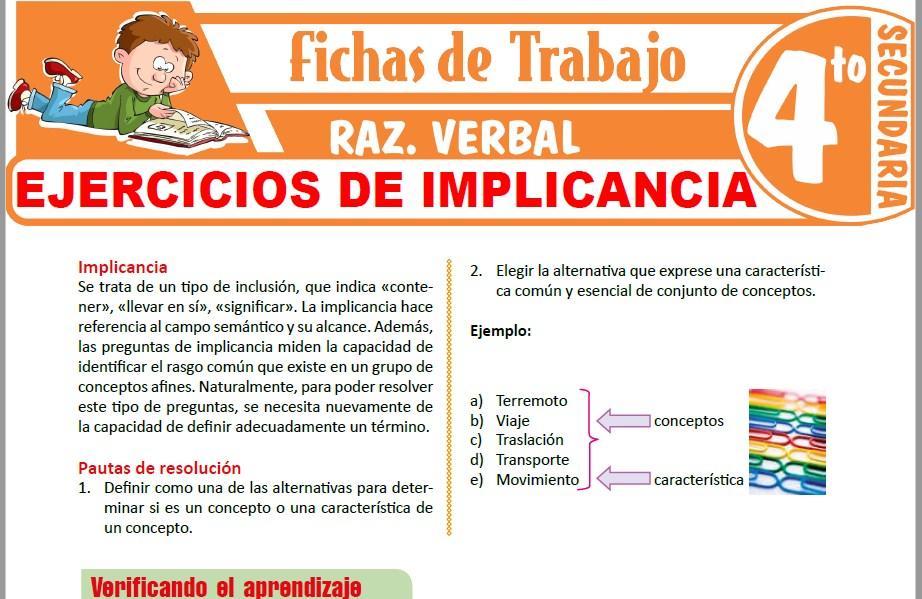 Modelos de la Ficha de Ejercicios de implicancia para Cuarto de Secundaria