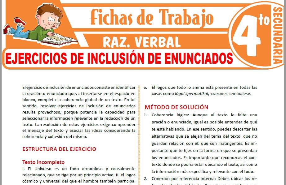 Modelos de la Ficha de Ejercicios de inclusión de enunciados para Cuarto de Secundaria
