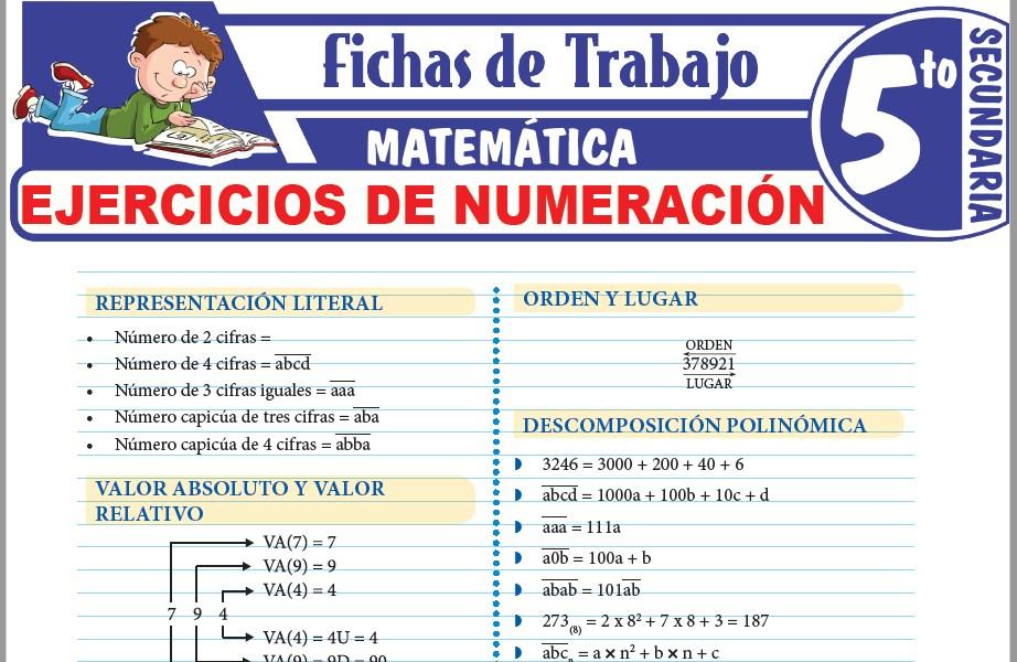 Modelos de la Ficha de Ejercicios de numeración para Quinto de Secundaria